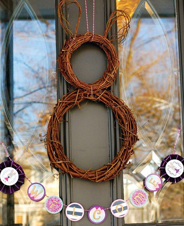 twig bunny rabbit door wreath