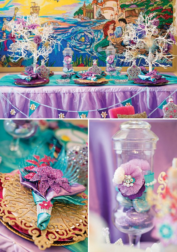 under the sea purple and blue mermaid tablescape