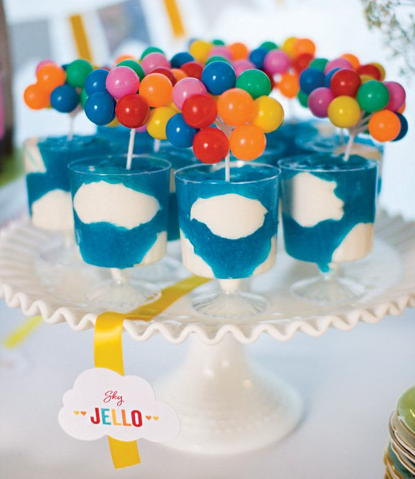 UP themed rainbow balloon topped blue jello cloud cups