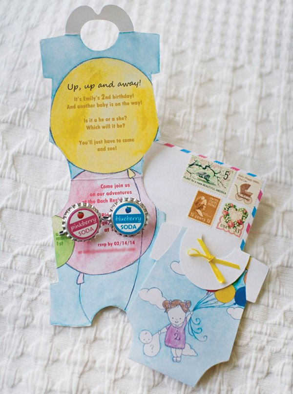 up up and away balloon decorated invitation
