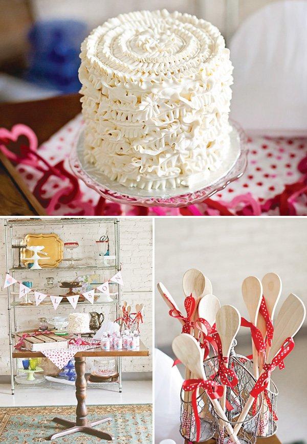 white ruffle birthday cake