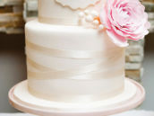 white satin ribbon birthday cake