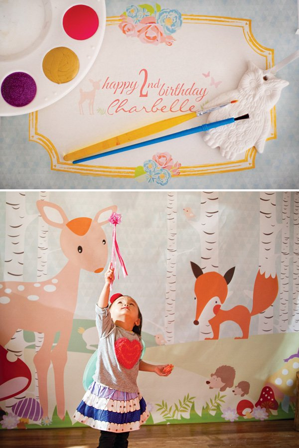 woodland creatures 2nd birthday backdrop