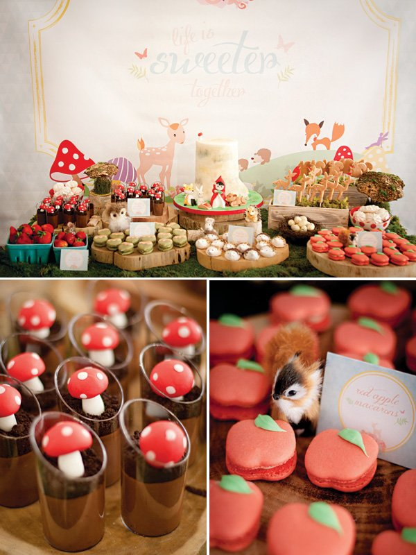 woodland creatures dessert table with toadstools and apple macarons