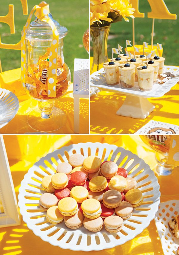 yellow dessert table candies and sweets