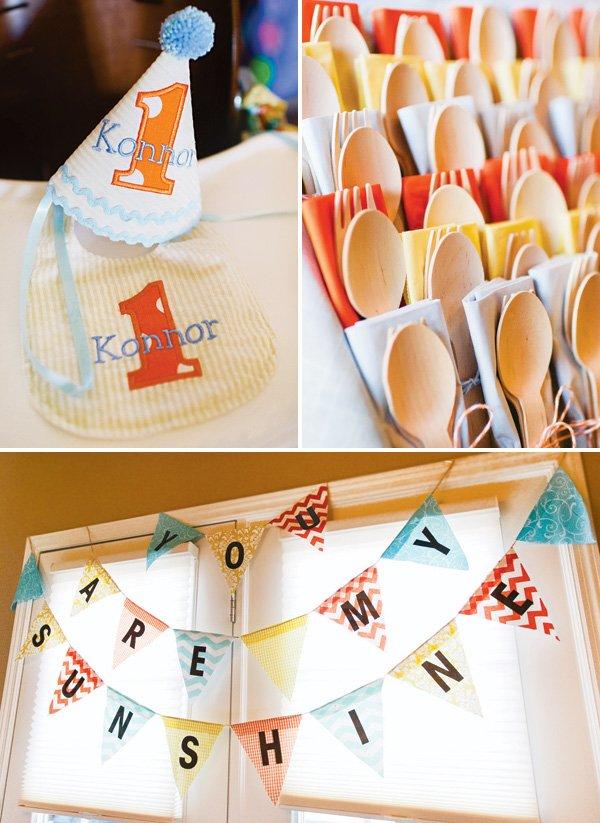 yellow, orange and blue birthday party decor