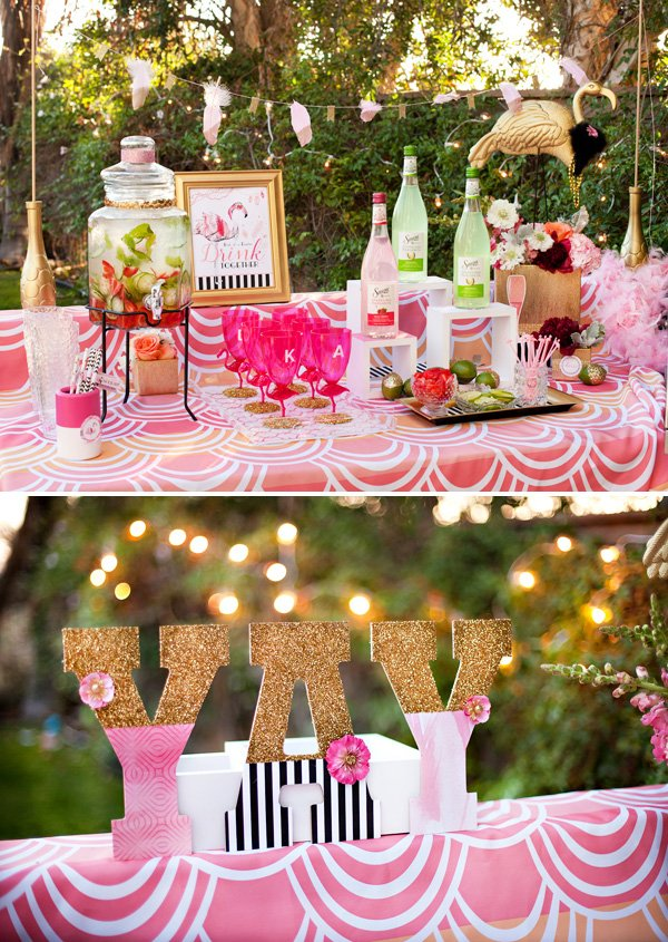 pink, gold and black flamingo themed cocktail party