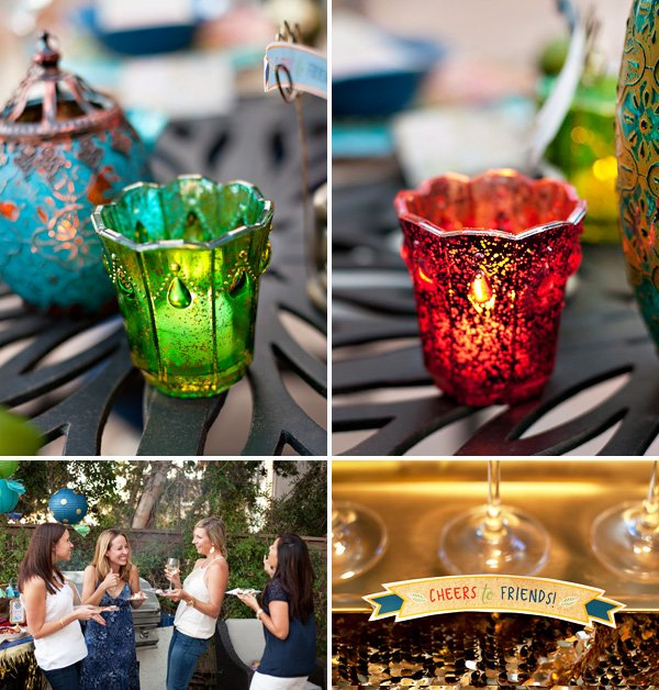 moroccan style candle votives for dinner party soft lighting