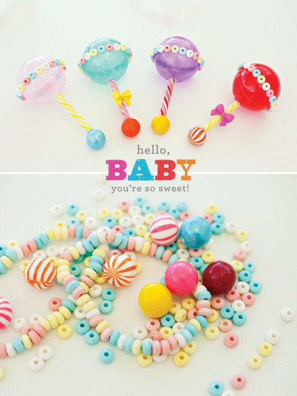 DIY candy baby rattles