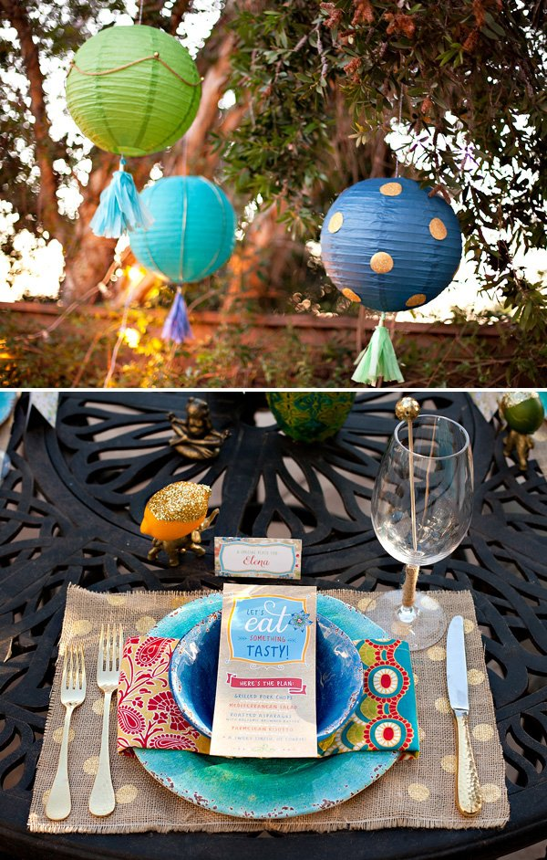 eclectic dinner party table setting and crafty paper lanterns
