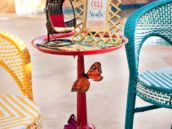 outdoor party pedestal drinks table