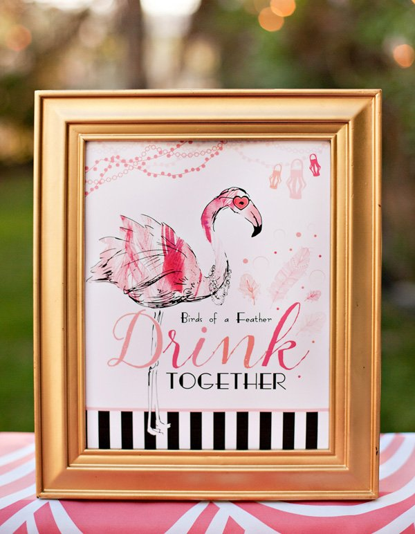 flamingo party cocktail sign
