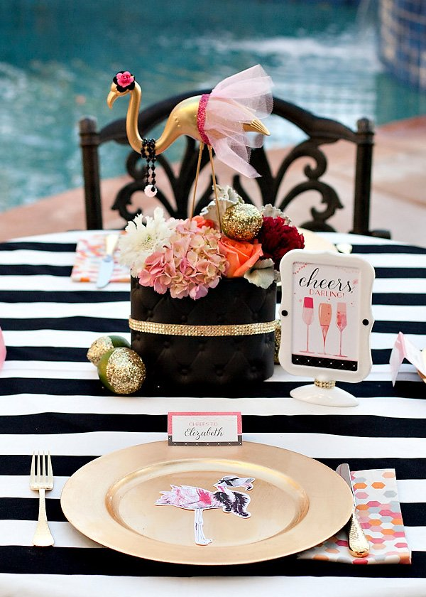 flamingo party floral centerpiece