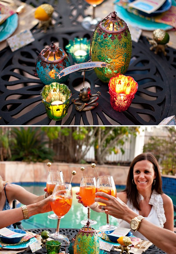 moroccan lantern table centerpieces and homemade peach sangria for a summer dinner party
