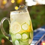 cucumber lemon water as a fresh drink for a summer dinner party