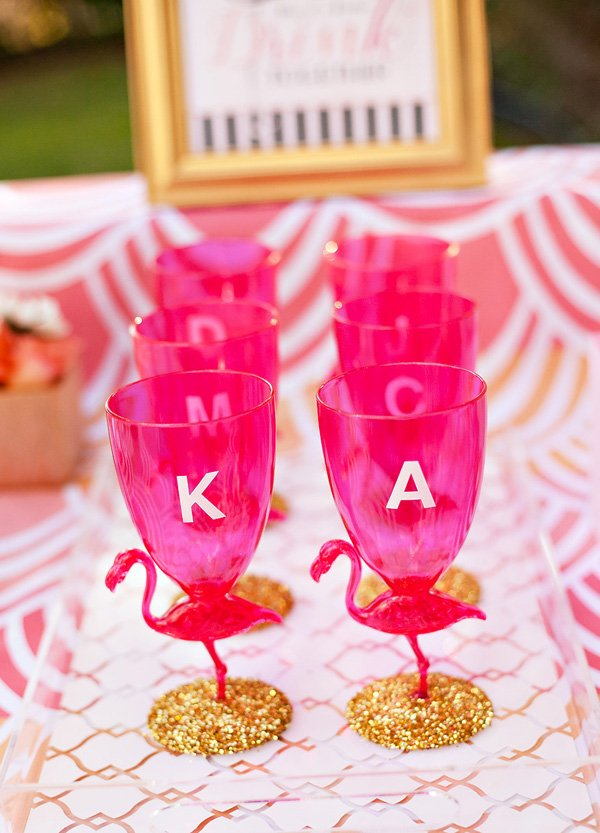 personalized pink and gold flamingo glasses