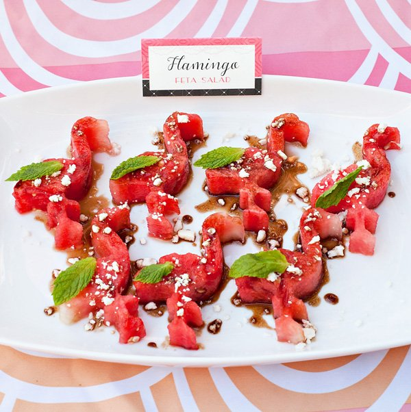 flamingo party food ideas with a flamingo shaped watermelon salad