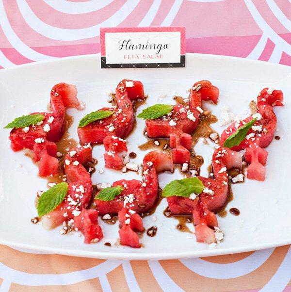 flamingo party food ideas with a flamingo shaped watermelon salad