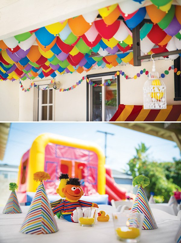 Adorable Backyard Sesame Street First Birthday Party
