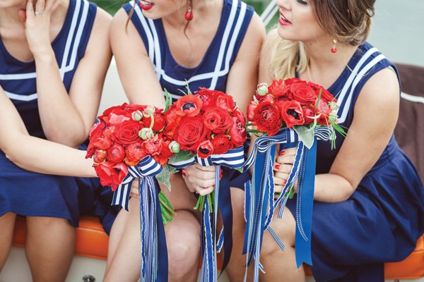 nautical red, white and blue bridesmaid dresses and bouquets