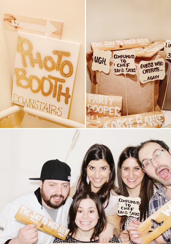 DIY adult birthday party photo booth with homemade wooden signs