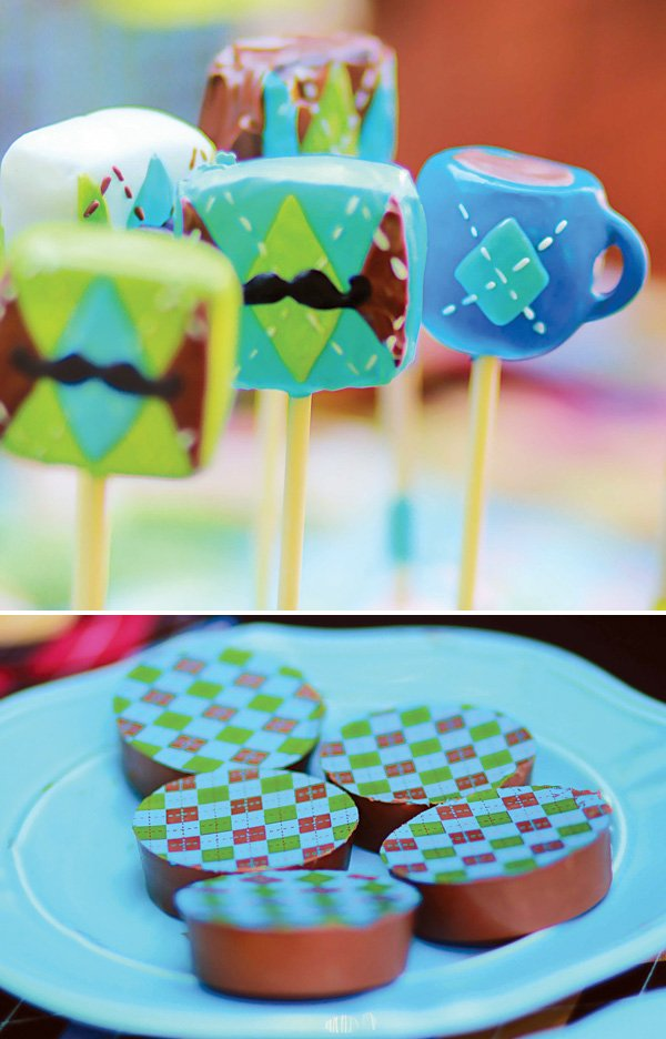 argyle mustache and tea cup cake pops