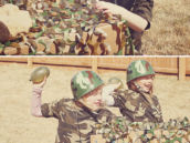 army party water balloon fight