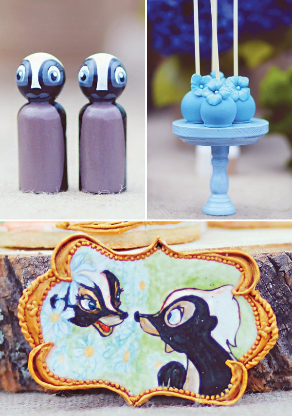 party decor and desserts with the skunk from bambi, flower
