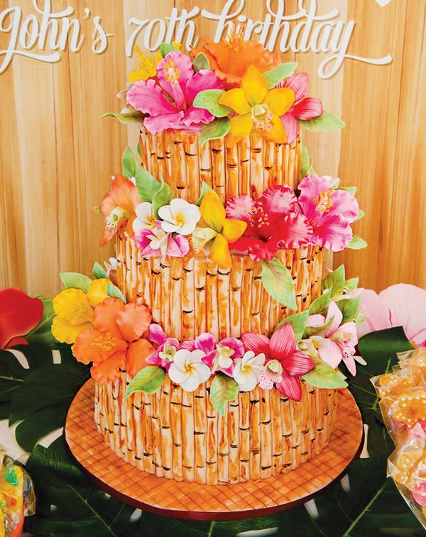 bamboo and hawaiian flowers birthday cake
