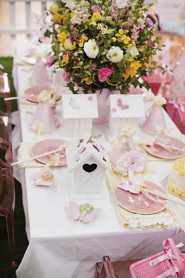 birdhouse garden party tablescape