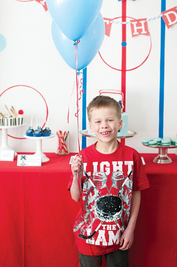birthday boy at his hockey party