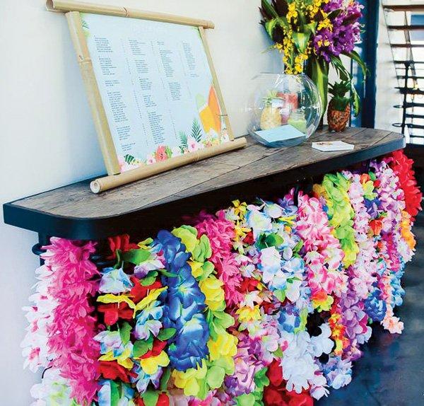 birthday party entrance hawaiian leis