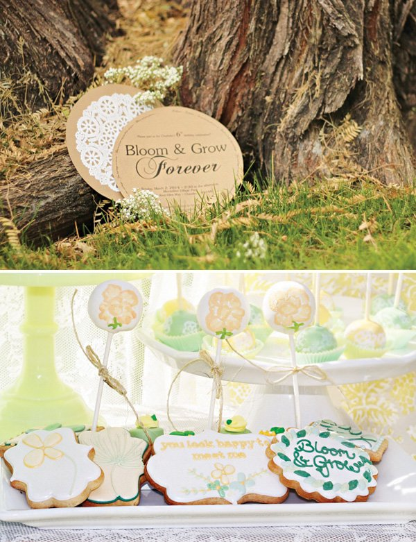 bloom and grow cookies and party invitation