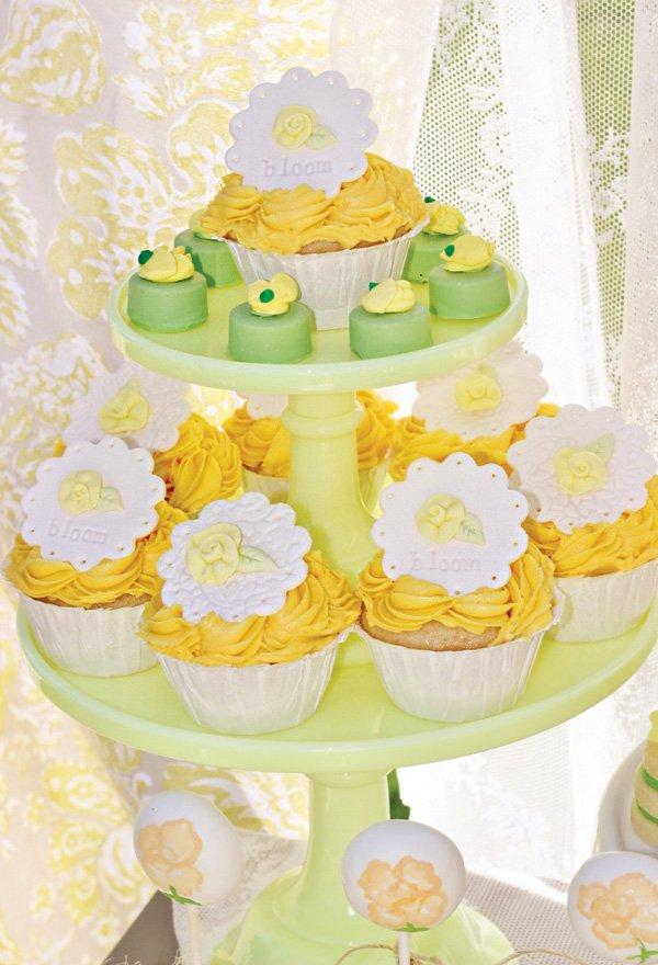bloom imprinted cupcake toppers