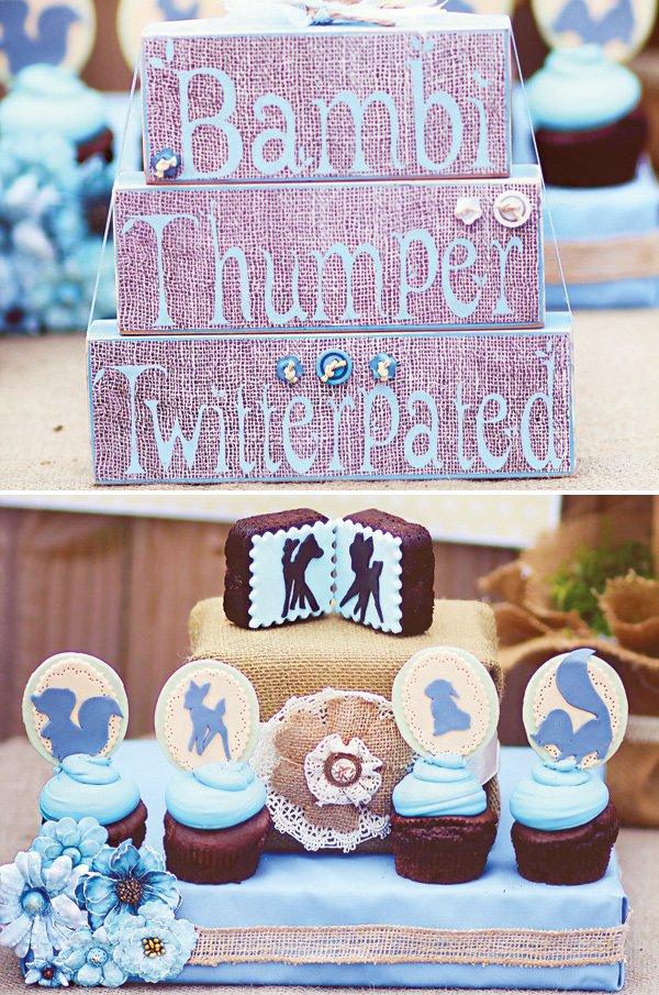 blue bambi themed cupcakes