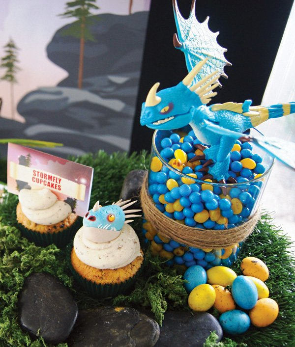 blue dragon egg candy and cupcakes