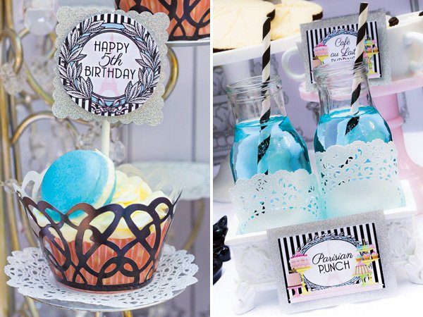 blue parisian party punch and blue macarons