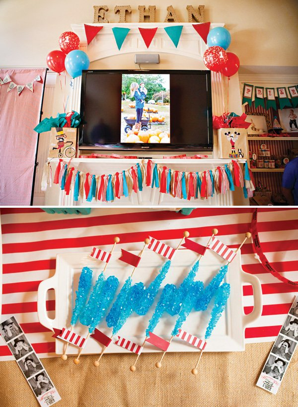 blue and red circus party mantle decor