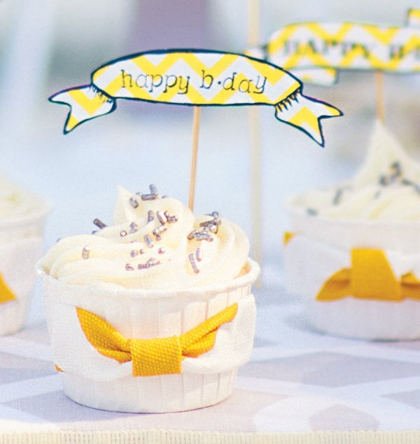 yellow chevron bow tie cupcake wraps