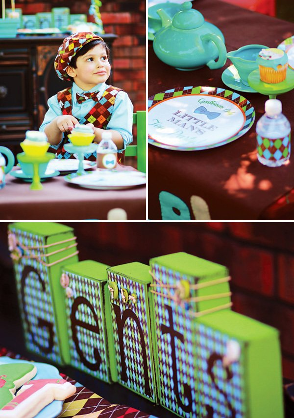 boy tea party argyle and teal tablescapr