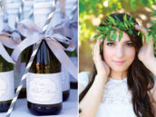 mini champagne bottles and an outdoor bridal photo shoot