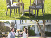 an outdoor dining table for the bride and groom at their wedding