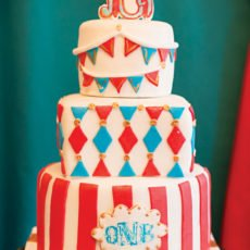 carnival circus bunting and stripes birthday cake