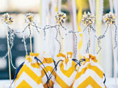 yellow chevron party favor bags