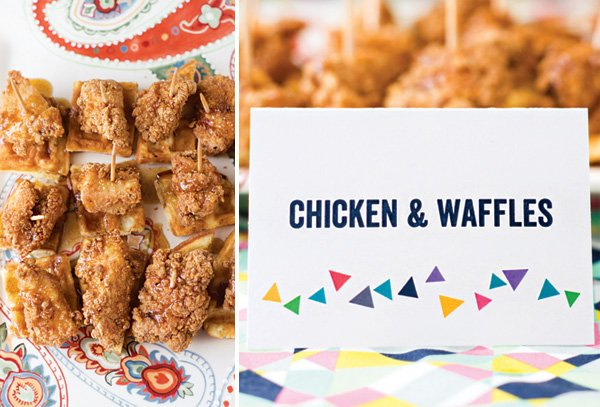 chicken and waffle skewers