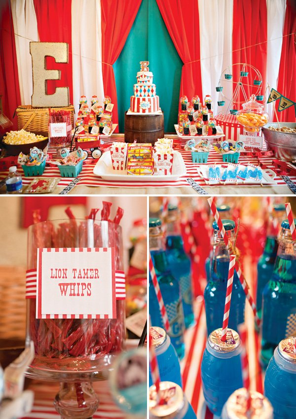 circus first birthday party dessert table with lion tamer licorice whips