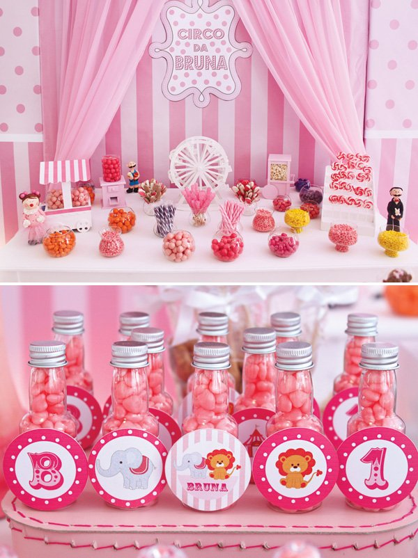 circus party candy table