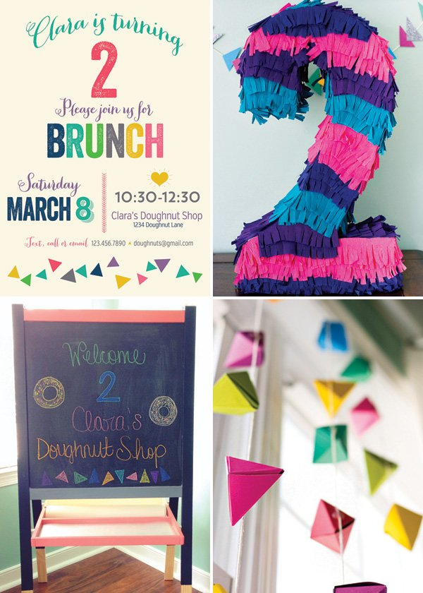 colorful brunch 2nd birthday party