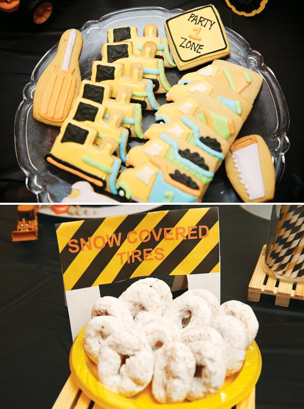 construction first birthday party snacks and desserts