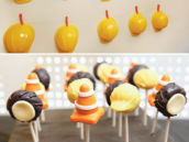 construction party cake pops and hard hat party favors
